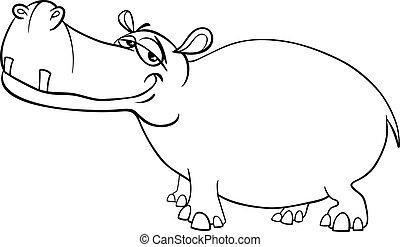 coloration, caractère, page, hippopotame