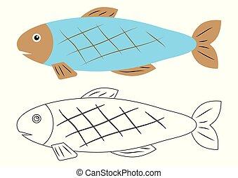 coloration, cartoon., fish, book., activité, children.