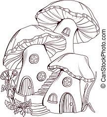 coloration, champignon, illustration, conte, maisons, book:, fée