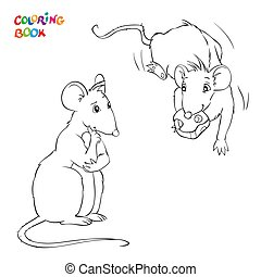 coloration, chees., rats., deux, rat, vecteur, livre