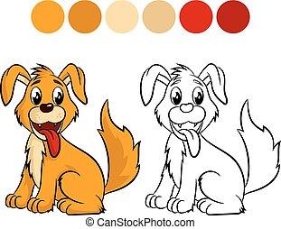 coloration, chien, book.
