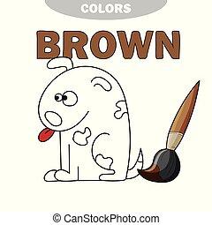 coloration, -, chien, illustration, livre, dessin animé