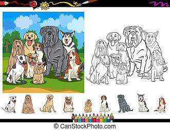 coloration, chien, page, ensemble, dessin animé, espèces