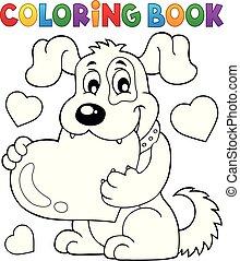 coloration, chien, valentin, 1, thème, livre