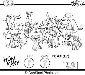 coloration, chiens, jeu, chats, dénombrement, livre