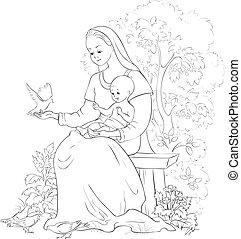 coloration, chrétien, marie, vecteur, jesus., bébé, dessin animé, page