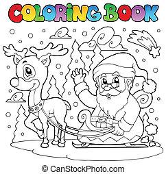 coloration, claus, thème, livre, 4, santa