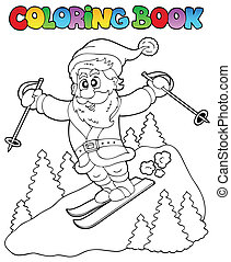 coloration, claus, topic, 3, livre, santa