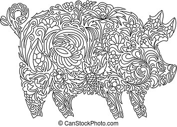 coloration, cochon, livre, autre, adulte, décorations, zentangle, dessin, ou