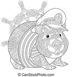 coloration, cochon, page, guinée