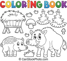 coloration, cochons,  1,  thème, Livre, sauvage