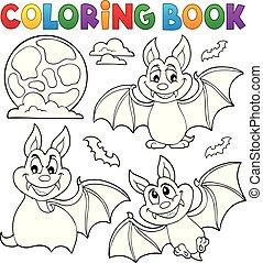 coloration, collection, 1, thème, livre, chauves-souris