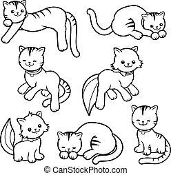 coloration, collection., chat, vecteur, noir, page blanc