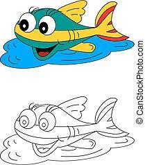 coloration, coloré, couleur, fish, -, jeune, livre, enfants