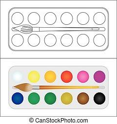 coloration, coloré, taches, cadre, text., peinture, palitra