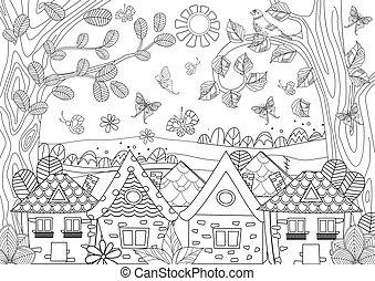 coloration, confortable, nature, maisons, livre, ton, paysage