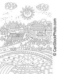 coloration, confortable, page, rural, ton, paysage