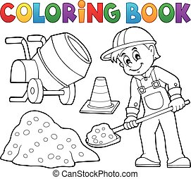 coloration, construction, 2, ouvrier, livre