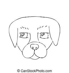 coloration, contour, chien, dessin animé, vecteur, livre, kids., page