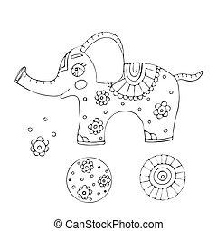 coloration, contour, dessin animé, vecteur, éléphant, livre, kids., page