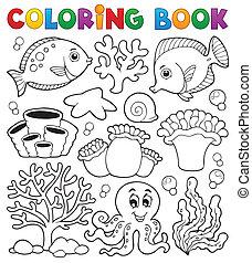 coloration, corail, thème, livre, récif, 2