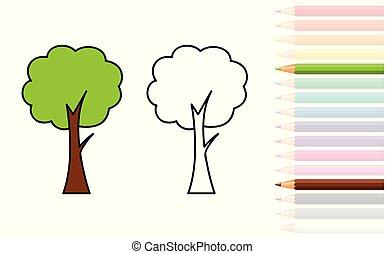 coloration, crayons, arbre, livre