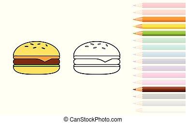 coloration, crayons, hamburger, livre