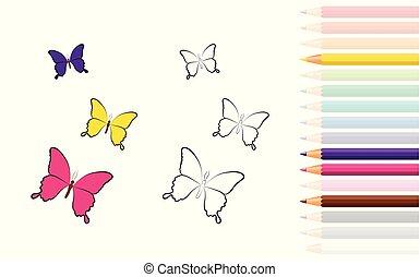 coloration, crayons, papillon, livre