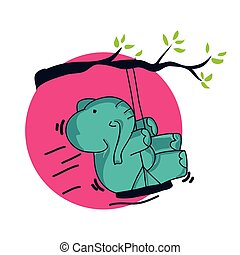 coloration, décoratif, livre, gosses, dessin animé, éléphant, adultes