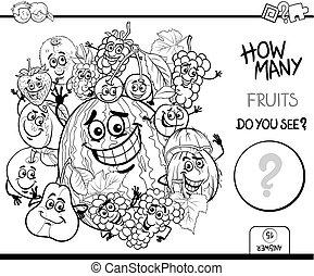 coloration, dénombrement, page, fruits