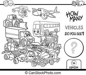 coloration, dénombrement, page, véhicules
