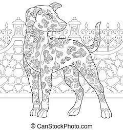 coloration, dalmatien, chien, page