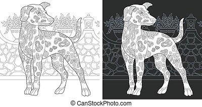 coloration, dalmatien, page, chien