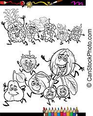 coloration, dessin animé, courant, ensemble, fruits, page
