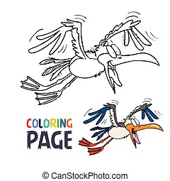 coloration, dessin animé, voler, page, oiseau