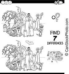 coloration, différences, halloween, jeu, livre, caractères