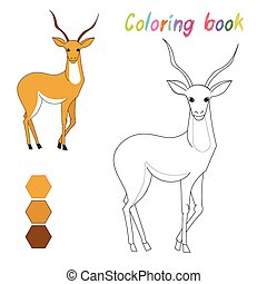 coloration, disposition, gosses, gazelle, jeu, livre