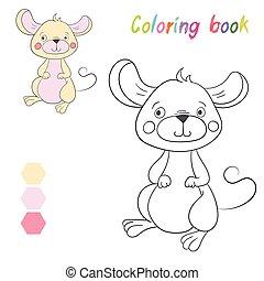 coloration, disposition, jeu gosses, livre, souris