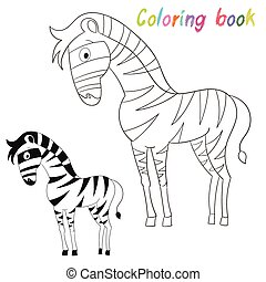 coloration, disposition, livre, jeu, gosses, zebra, oiseau