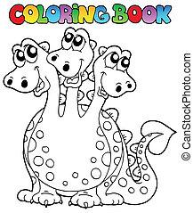 coloration, dragon, trois, livre, dirigé