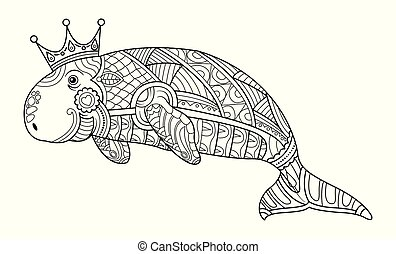 coloration, dugong, livre, adulte, vector., page