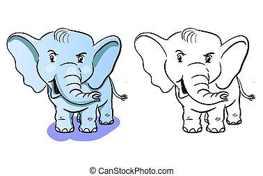 coloration, -, enfants, livre, éléphant, dessin animé