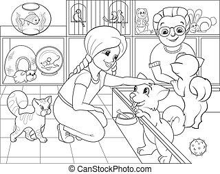 coloration, enfants, vecteur, contact, zoo, dessin animé