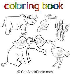 coloration, ensemble, animaux, cactus, livre