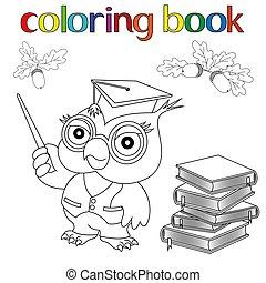 coloration, ensemble, prof, glands, hibou, livres, livre