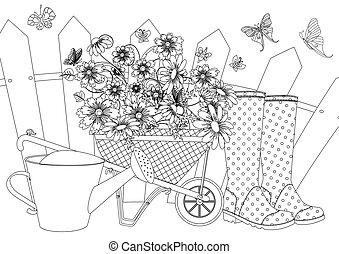 coloration, ensemble, welly, jardin, boîte, arrosage, bottes, rustique, livre, brouette, agréable, fleurs, ton, paysage