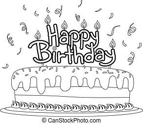 coloration, esquissé, gâteau anniversaire, livre, topper