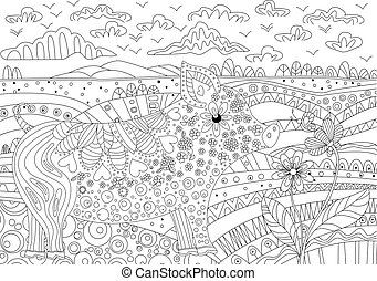 coloration, fantaisie, cochon, livre, floral, ton, paysage