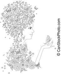 coloration, fantaisie, papillons, livre, girl, ton