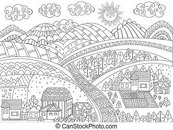 coloration, fantaisie, ton, rural, page, paysage
